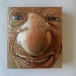 Il buffone! acrilico su juta estroflessa, 23x20x9 cm, 2016